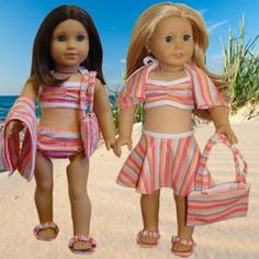 "Amazon.com: 6 piece Swimsuit Set Fits 18"" American Girl Doll Clothes: Toys  Games"