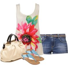 A fashion look from August 2013 featuring loose fitting tank tops, blue cotton shorts and metallic thong sandals. Browse and shop related looks.