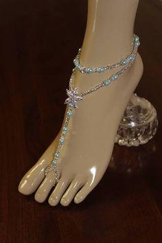 37659ab2ddf6c Items similar to Blue Beach Wedding Barefoot Sandal Foot Jewelry Barefoot  Sandal Foot Jewelry on Etsy