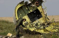 This photo shows a Pro Russian rebel looking at the nose of the MH 17 plane.