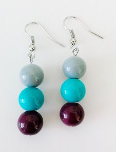 Beaded Earrings Dangling Sy Dangle Bead Drop Grey Turquoise Magenta
