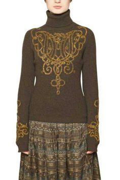Turtlenecks - Salvatore Ferragamo Metal Embroidery and Wool Turtleneck, 1,974.- USD