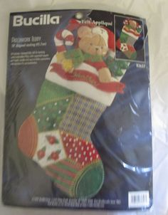 "Bucilla Patchwork Teddy 18"" Stocking Sock Felt Applique Kit 83657 Open Pkg. #Bucilla"