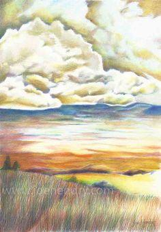 Sunset Landscape painting Fine Art Print. Signed by WalterEgoArt, £16.00