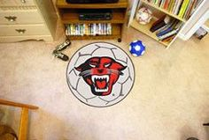 """Davenport University Soccer Ball - For all those soccer fans out there: soccer ball-shaped area rugs by FANMATS. Made in U.S.A. 100% nylon carpet and non-skid recycled vinyl backing. Machine washable. Officially licensed. Chromojet printed in true team colors.FANMATS Series: SOCCBALTeam Series: Davenport UniversityProduct Dimensions: 27"""" diameterShipping Dimensions: 27""""x14""""x0.5"""". Gifts > Licensed Gifts > Ncaa > All Colleges > Davenport University. Weight: 1.70"""