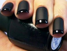 This Matte Nail Polish with the glossy tips is amazing, I found the picture on Pinterest but the website originally just sent me to a website full of pictures, with a little bit of research i found the colors that OPI offers     Lincoln Park After Dark, (pictured, Black)  Russian Navy, (Navy Blue)  You Don't Know Jacques! (Medium Brown)  La Paz-itively Hot (Hot Pink)  Gargantuan Green Grape (Pastel Green)  Alpine Snow (White)