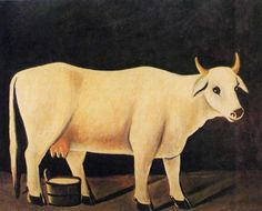 White cow on a black background - Niko Pirosmani, Wikipaintings Black Background Painting, Grandma Moses, Bull Cow, White Cow, Cow Art, Oil Painting Reproductions, Naive Art, Russian Art, Animal Paintings