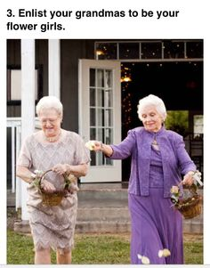 I don't have a wedding board, but Grandmas as flower girls is just too cute! 21 Insanely Fun Wedding Ideas - Get your Grandmas to be your flower girls Wedding Coordinator, Wedding Events, Wedding Ceremony, Wedding Planner, Our Wedding, Dream Wedding, Quirky Wedding, Wedding Stuff, Wedding Receptions