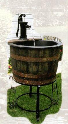 Amish Whiskey Barrel Water Fountain Pond Wooden Garden Planter Yard Decor New