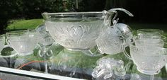 "Depression Glass Punch Bowl Set by Anchor Hocking.  ""Sandwich""  Includes Ladel"