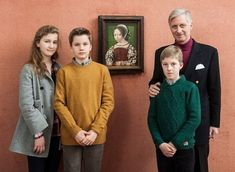 """Newmyroyals:  King Philippe and his eldest children Princess Elisabeth, Duchess of Brabant, Prince Gabriel and Prince Emmanuel, visited the """"In Search of Utopia"""" exhibit at the Leuven Museum, December 20, 2016"""