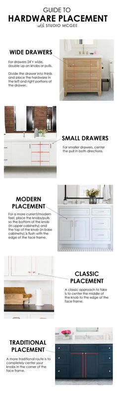 cabinet hardware placement guide from studio mcgee Home Decor Kitchen, Kitchen Furniture, Home Kitchens, Furniture Stores, Kitchen Ideas, Furniture Outlet, Furniture Direct, Amish Furniture, Furniture Design