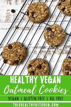 Looking for healthy vegan oatmeal cookies? Look no further! These easy, chewy and simple cookies will become your healthy cookie go to! They're gluten free with no sugar, no butter and no oil, using applesauce to moisten. Plus, they only use 5 ingredients and are ready in just 20 minutes! They're simply the BEST!