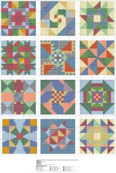 Cross-stitch Quilt squares, part 1