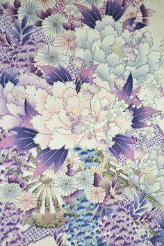 VINTAGE SILK KIMONO FABRIC:Chrysanthemum/Wisteria@JJ34