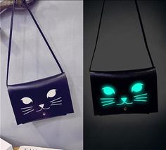 Glow In The Dark Lumious Cat Shoulder Bag