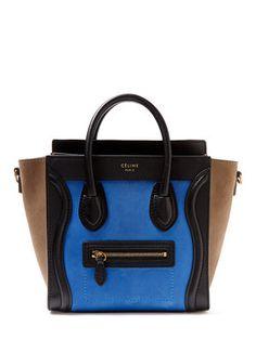 Blue Leather Nano Luggage Tote