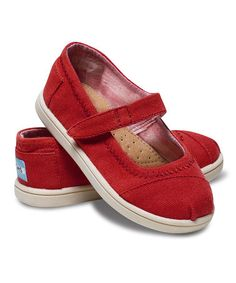 Look what I found on #zulily! Red Canvas Mary Jane - Tiny by TOMS #zulilyfinds