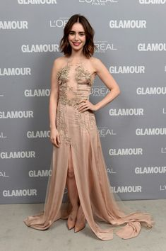 Lily Collins - Inside the Glamour Honors the Women of the Year   short wavy hair, red lips, pale silk gown w/ sheer paneling & embroidery