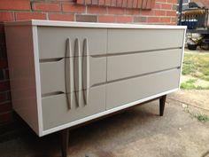 Stunning Midcentury Modern Solid Wood 6 Drawer Kroehler Dresser - White and Gray. $400.00, via Etsy.
