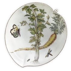 A Chelsea porcelain 'Hans Sloane' leaf-shape dish, circa 1755. photo courtesy Sotheby's