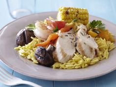 Grilled Meats and Vegetables over Saffron Orzo from FoodNetwork.com