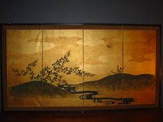 Japanese 4 Panels Byobu Screen | eBay