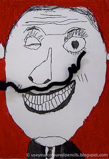Salvador Dali Mustache lesson- so funny. I think this would fit in perfectly for 6th grade portraits.