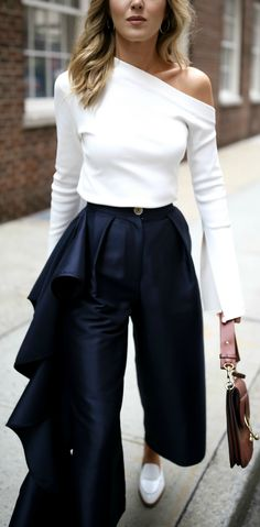 ivory one shoulder long sleeve top, navy culottes with ruffles down leg, white mules slides, brown pierce bag Fashion Mode, Look Fashion, Fashion Design, Fashion Trends, Mode Outfits, Chic Outfits, Fashion Outfits, Mein Style, Inspiration Mode