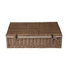 Antique Brown Wicker Under Bed Basket  sc 1 st  Pinterest & Wicker Under Bed Basket with Liner | The Laundry | Pinterest ...