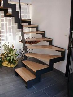 Platzsparende offene Treppe - Treppe ideen - The Effective Pictures We Offer You About building Stairs A quality picture can tell you many things. You can find th Home Stairs Design, Interior Stairs, Home Design, Interior Design Living Room, Design Ideas, Modern Stairs Design, Open Stairs, Metal Stairs, Outside Stairs