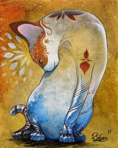 """GRACIOUS CYBORG CAT"" Original painting by Raphaël Vavasseur art Original painting: http://ift.tt/2kta9Vv Fine art prints: http://ift.tt/2k9RRuP"