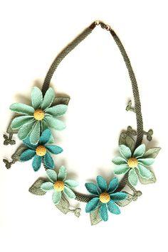 Silk needle lace igne oya necklace  turquoise by MiSTANBULcom, $68.00