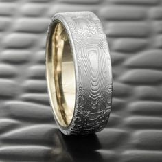 Damascus Steel Flat 7mm Wide Men's Wedding Band with Liner of 14k White Gold  |  BOOKMATCHED
