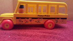 Vintage 1984 Fisher-Price Little People School Bus Pull Toy  Plastic #FisherPrice