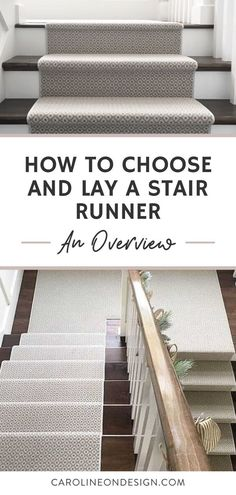 Learn how to choose the look of your stair runner and the ways to lay it. I share the best carpet styles, pattern considerations, and ways to lay a carpet on stairs to help you make choices today! #stairrunner #stairs