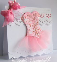 pretty dress card How did she do the bodice???? ⊱✿-✿⊰ Join 1,300 other & follow the Cards and paper crafts board. Visit GrannyEnchanted.Com for thousands of digital scrapbook freebies. ⊱✿-✿⊰