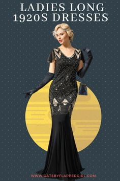 We have a wide range of stunning and glamorous 1920s womens Great Gatsby long dress styles! Click here to see all our range - Look amazing! Great Gatsby Long Dresses, Gatsby Dress Plus Size, Great Gatsby Outfits, Plus Size Dresses, Formal Dresses, Long Evening Gowns, Flapper Style, 1920s Dress, Dress Styles
