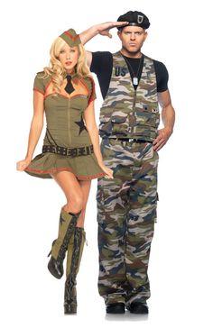 Military Army Couple Halloween Costumes - Leg Avenue, teezerscostumes.com
