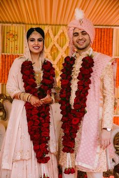 Coming now to your FAV colour! Couple Wedding Dress, Indian Wedding Couple, Indian Bride And Groom, Wedding Bride, Bride Groom, Indian Wedding Flowers, Flower Garland Wedding, Indian Wedding Decorations, Rose Garland