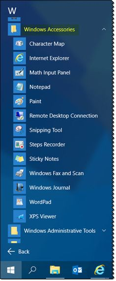 Where is the Accessories folder in Windows 10