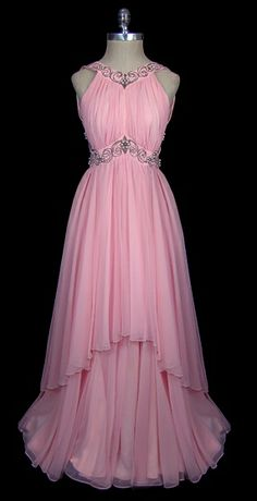 Evening Dress 1965, Made of chiffon - love the skirt layering!!
