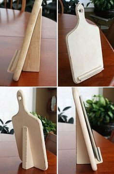 Turn a cutting board into a cookbook/tablet stand. Cutting board, wooden wedge, tile stand from scrabble. Diy Wood Projects, Diy Projects To Try, Woodworking Projects, Woodworking Supplies, Woodworking Furniture, Woodworking Plans, Project Ideas, Craft Ideas, Home Crafts