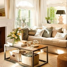 Home Design Ideas Home Living Room, Living Room Designs, Living Room Decor, Living Spaces, Moraira, Beige Sofa, Cuisines Design, Trendy Home, Cozy House