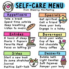 What a great menu with some great ideas to remind you to take care of your self! Mental And Emotional Health, Self Care Activities, Self Compassion, Self Care Routine, Coping Skills, Happy People, Motivation, Me Time, Listening To Music