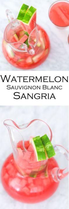 Watermelon Sangria Recipe with White Wine (Sauvignon Blanc). An easy summer cock… Watermelon Sangria Recipe with White Wine (Sauvignon Blanc). An easy summer cocktail with few ingredients. Watermelon Sangria, Sangria Drink, White Wine Sangria, Cocktail Drinks, Cocktail Desserts, Bourbon Drinks, Sangria Recipes, Drinks Alcohol Recipes, Cocktail Recipes