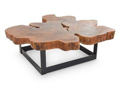 Raw edge solid wood coffee table made with a reclaimed algarrobo cross cut on a steel base with powder coated black finish. This product is one-of-a-kind; it is designed to accentuate the unique chara