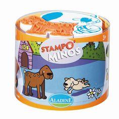 Kinderstempel Stampo Minos Haustiere mit Stempelkissen von Aladine 3+