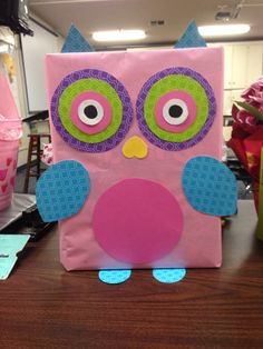 Valentine's Owl Box - made out of a cereal box