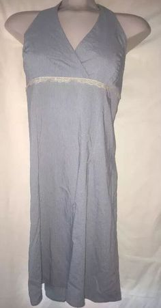 Faith Love Passion Juniors 15 Halter Maxi Dress Pinstripe Blue Empire Waist  | eBay